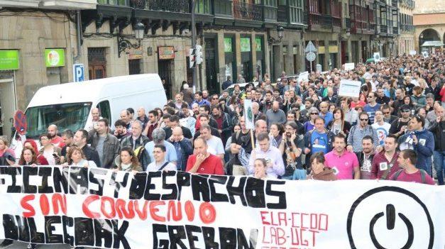 Se reanudan las movilizaciones en Oficinas y Despachos de Bizkaia ante una nueva reunión del convenio