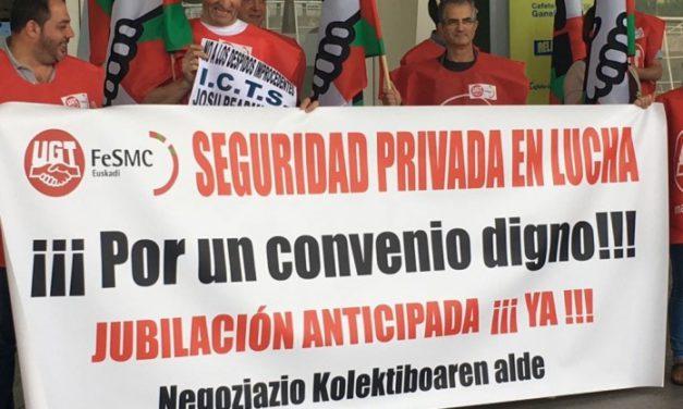 Movilizaciones por el convenio de Seguridad Privada, en Loiu (Bizkaia) y Donostia