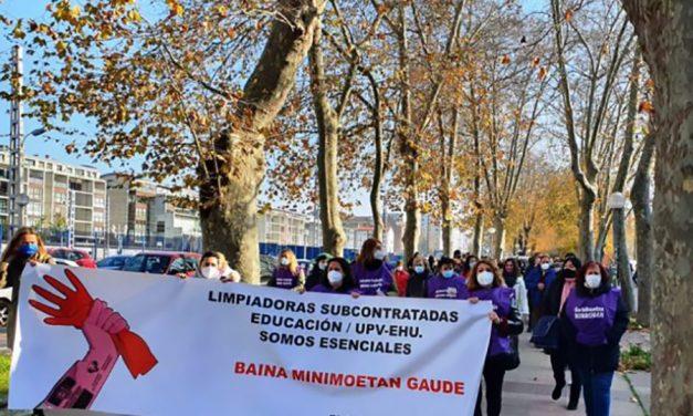 Amplio seguimiento en la segunda jornada de huelga de limpieza de centros escolares y UPV/EHU