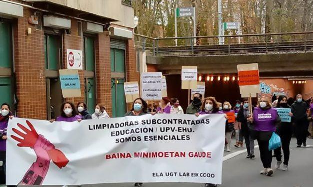 Amplio seguimiento de la primera jornada de huelga en las empresas de limpieza de Enseñanza y UPV/EHU
